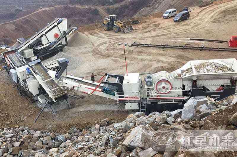 红星大型移动制砂机现场