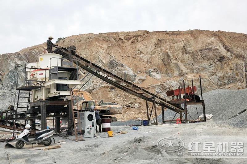 花岗岩制砂生产现场