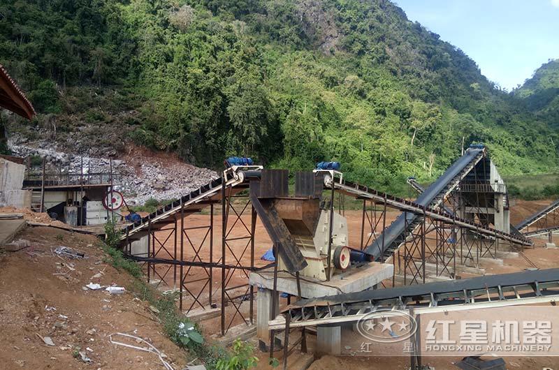 时产100吨沙石料生产线现场图片
