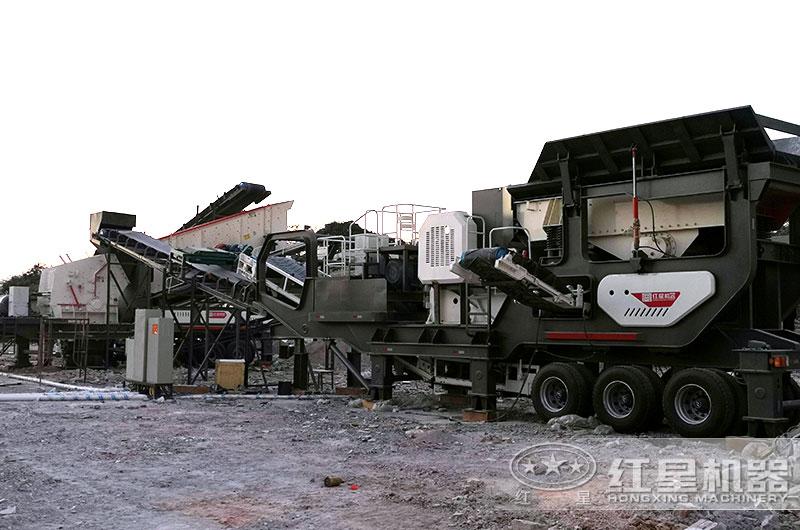 时产200吨移动式沙石料生产线现场图片